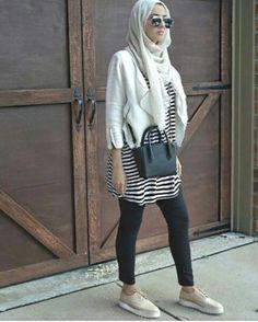 striped tee hijab casual look