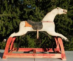 Antique Folk Art Primitive Rocking Horse-Glider~Original Paint~Solid Wood~NR
