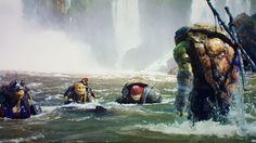 Raphael, Leonardo, Donatello & Michelangelo in the water.