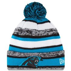 Mens Carolina Panthers New Era Panther Blue On-Field Sport Sideline Cuffed  Knit Hat a6c39671e