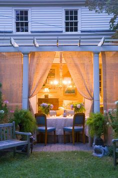 Pergola, outdoor room and curtains with lovely lighting
