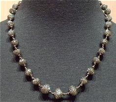Roni Blanshay Bead Nuggets on Leather Necklace