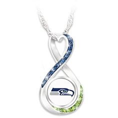 Seattle Seahawks Forever Infinity Pendant Necklace with 12 Swarovski Crystals