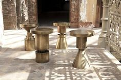 With strong lines and geometric design, these stools are stunningly sculptural pieces, conferring a powerful energy to any space. Whether on its own or grouped together, this brass-plated end table/stool will prove you've got decorating game. Design Furniture, Accent Furniture, Table Furniture, Steel Furniture, Custom Furniture, Garden Furniture, Outdoor Furniture, Interior Exterior, Interior Design