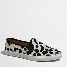 0693685bbb6 JCrew Factory snow leopard calf hair slip-on sneakers Sneakers Fashion  Outfits