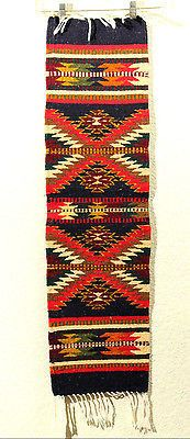 Mexican Wool Rug Runner Hand Woven Natural Dyes Master Zapotec Weavers Zig Zag