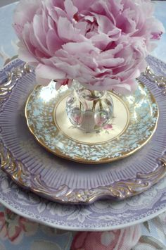 Lovely setting of gorgeous purple china Wow!
