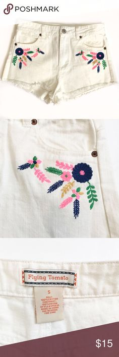 Cute Embroidered High-Waisted Shorts White denim. Perfect for summer concerts and festivals! Frayed cutoff shorts with pretty embroidered flowers. Great condition! 🌺 Flying Tomato Shorts Jean Shorts