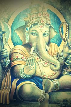 A nice vintage image of Lord Ganesh, the remover of obstacles.