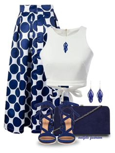 Blue by outfitsfashion4 on Polyvore featuring moda, WithChic, Gianvito Rossi, Dorothy Perkins and Aurélie Bidermann