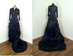 Antique Victorian 18th Century Black and Red Silk by SLVintage, $750.00