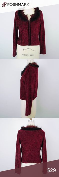 Morbid Threads Cardigan Red Fur Trim Goth Punk Morbid Threads Womens Sweater Cardigan Jacket L Red Fur Trim Goth Punk A15 Description  Material: 100% polyester Size: L  Measurements (in inches):  Armpit-to-armpit: 18 Length: 19.5 **All our products come from a clean and smoke-free household.** Morbid Threads Sweaters Cardigans