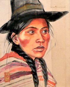 Female Portrait, Portrait Art, South American Art, Travel Sketchbook, Painting People, People Illustration, Impressionist Art, People Art, Mixed Media Painting