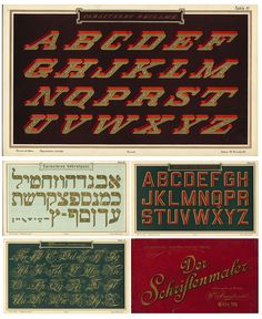 a few samples from the portfolio of sign painter Wilhelm Arrenbrecht (c. 1890) to showcase lettering options to clients