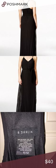 Pleated maxi dress B. Darling floor length pleated black maxi dress. V neckline. Polyester material. Removable belt around the waist to tighten dress.  Fits a M/L. Offers welcome. B Darlin Dresses Maxi
