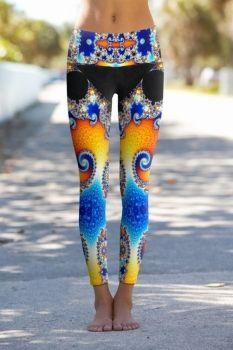 bedruckte Leggings, allover print, Mandelbrot Menge, Yoga Hose, Om Shanti