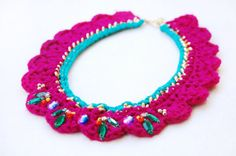 Embellished Crochet Statement Collar Necklace, Raspberry and Bright Teal