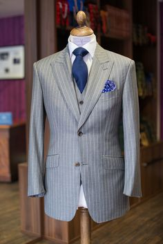 Charles Campbell Bespoke: Here we have a 3 piece Scabal grey rope stripe...