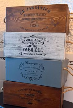 Brighton Vintage Antiqued Wooden Box Crate Trug Post Office Box