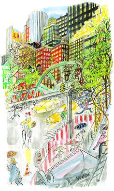 Sempé | Galerie Martine Gossieaux Watercolor Landscape, Watercolor Art, New Yorker Covers, Quentin Blake, Copic Markers, Art Sketches, Childrens Books, Cool Art, Illustration Art