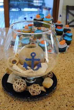 Baby Shower Centerpieces – Standout With Creative Baby Shower Decorations Sailor Baby Showers, Anchor Baby Showers, Boy Baby Shower Themes, Baby Shower Parties, Baby Boy Shower, Sailor Theme Baby Shower, Nautical Theme Baby Shower, Nautical Decor Party, Boy Baby Showers