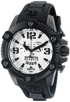 Men's Wrist Watches - Invicta Mens 11178 Arsenal Chronograph White Dial Black Polyurethane Watch * Learn more by visiting the image link. (This is an Amazon affiliate link)