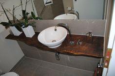 Waschtisch aus Treibholz Waschbecken Porzellan