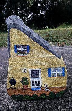 Handpainted rock house doorstop by lizartistry on Etsy