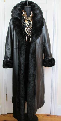 Gorgeous Reversible Black Coat Leather & Faux Fur Jacket XL #Leather #GenuineLeatherFauxFur