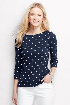As seen in First for Women (June 2015) - Women's 3/4-sleeve Button Boatneck Top