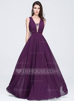 144c962f0f85 Corte A Princesa Escote en V Hasta el suelo Gasa Vestido de baile de  promoción