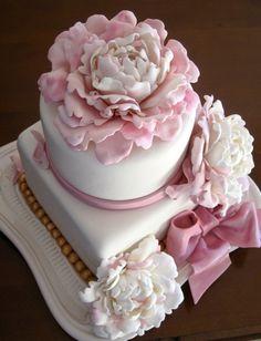 Pink peonie cake