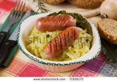 Grilled Sausage And Cooked Sauerkraut, Traditional German Food ...