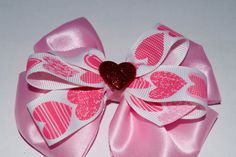Valentine Girls Heart Shape Hair Bow Handmade Girls Bow Girls Valentine Hair Bow by RachelsHairBowtique on Etsy
