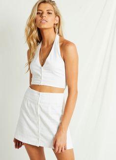 Malibu Halter Top - White