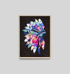 Vibrant Headdress | Black | Framed Print #theblockshop #renorumble #art