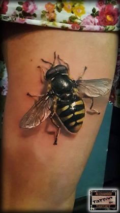 Realistic 3D Bee Tattoo On Thigh