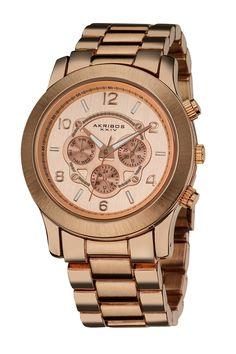 Akribos XXIV Unisex Rose-Tone Watch  Jewelry