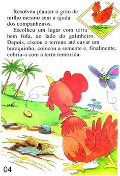 Página 4 do livro A GALINHA RUIVA Winnie The Pooh, Disney Characters, Books, Feelings Activities, Traditional Tales, Art Classroom, Blue Prints, Places, Libros