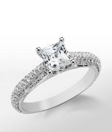 Monique Lhuillier Cathedral Pavé Engagement Ring