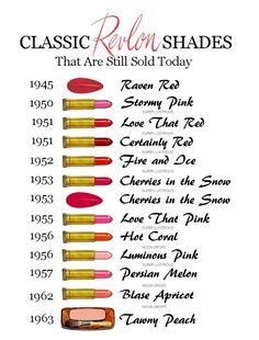 The Homicidal Homemaker's Vintage Ad of the Week, 12/12/12 - Revlon Cosmetics. Revlon Lipstick Shades, Revlon Super Lustrous Lipstick, Red Lipsticks, Revlon Color, Drugstore Lipstick, 1950s Makeup, Retro Makeup, Vintage Makeup Ads, Cherries In The Snow