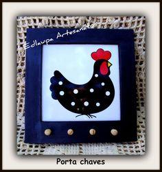 Porta chaves galinha d'angola em mosaico