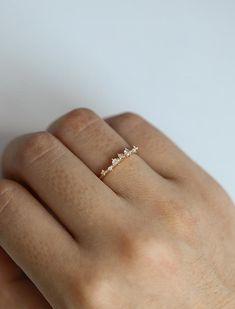 Diamant-Cluster Ring Zweig Verlobungsring Floral einzigartige