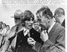 George being interviewed , Boston , 18th August 1966