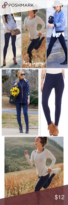 """Navy Leggings Navy slimming leggings. Wear them casual, dressy or sporty. Color navy blue 2"""" waist band. Made of poly/spandex blend. Size OSFM Threads & Trends Pants Leggings"""