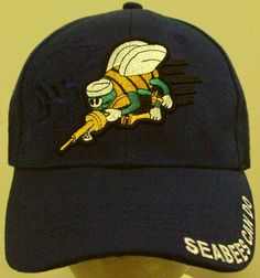 48355954cbab7 Details about U.S. NAVY USN NAVAL SEABEES CAN DO CONSTRUCTION BATTALION CB  TEAM CAP HAT BLUE