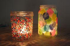 DIY : recycler un pot de confiture en photophore à pois