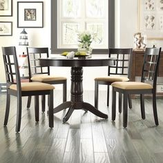 Shop For TRIBECCA HOME Wilma Black Round Pedestal 5 Piece Dining Set Get Free