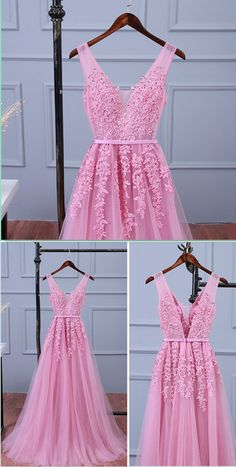 Lace Appliqued Tulle Long Prom Dresses Sexy V-neck Woman's Evening Dresses Elegant Formal Dresses for Weddings Pink Long Bridesmaid Dresses Prom Dresses Gatsby, Prom Dresses 2018, Women's Evening Dresses, Formal Dresses For Weddings, Grad Dresses, Formal Dresses For Women, Long Bridesmaid Dresses, Elegant Dresses, Women's Dresses