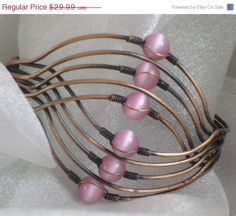 ON SALE Vintage Bracelet Copper Wire Cuff and Moonglow by waalaa